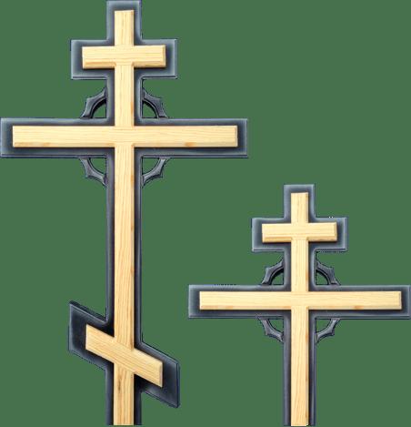 Крест сосновый с накладкой и круговым декором без надписи
