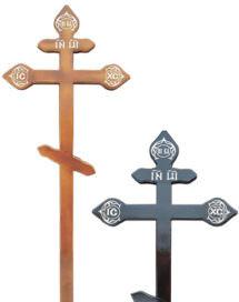 Крест сосновый «трилистник» светлый/темный с надписью «I.N.Ц.I.»