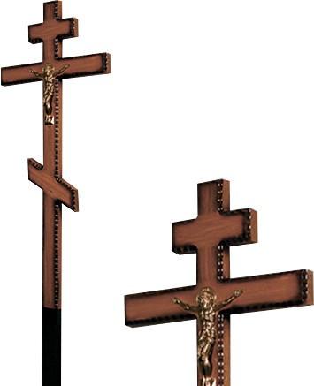 Крест дубовый напыленный резной с распятием без надписи