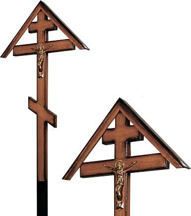 Крест дубовый «домиком» напыленный с распятием без надписи