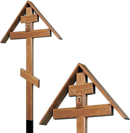 Крест дубовый «домиком» с иконой и надписью «Вечная память»/ «I.N.Ц.I.»