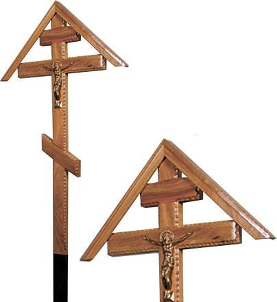 Крест дубовый «домиком» с распятием резной без надписи