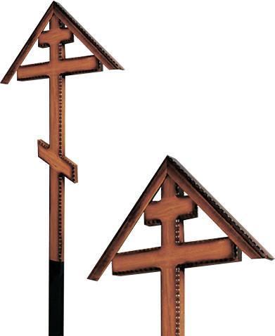 Крест дубовый «домиком» напыленный резной без надписи