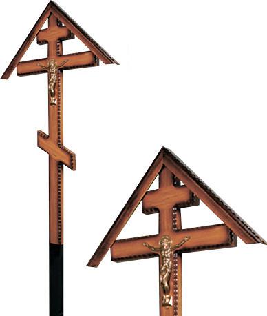 Крест дубовый «домиком» напыленный резной с распятием без надписи