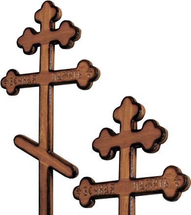 Крест дубовый «трилистник» напыленный с надписью «Вечная память»/ «I.N.Ц.I.»