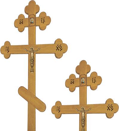 Крест дубовый «трилистник» с иконой, распятием и надписью «Вечная память»/ «I.N.Ц.I.»
